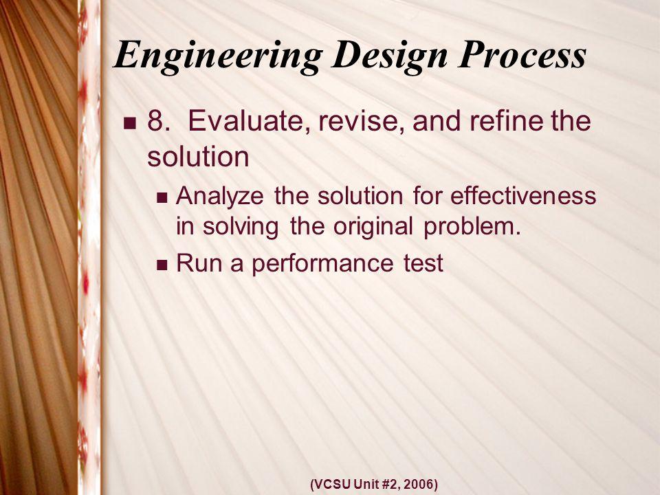 (VCSU Unit #2, 2006) Engineering Design Process 8.
