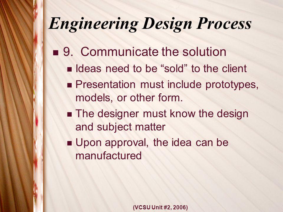 (VCSU Unit #2, 2006) Engineering Design Process 9.