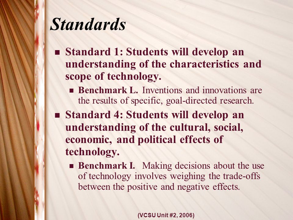 (VCSU Unit #2, 2006) Standards Standard 1: Students will develop an understanding of the characteristics and scope of technology.