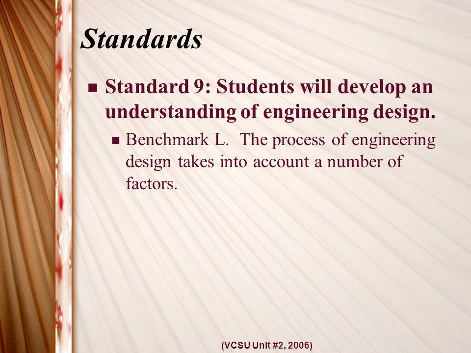 (VCSU Unit #2, 2006) Standards Standard 9: Students will develop an understanding of engineering design.