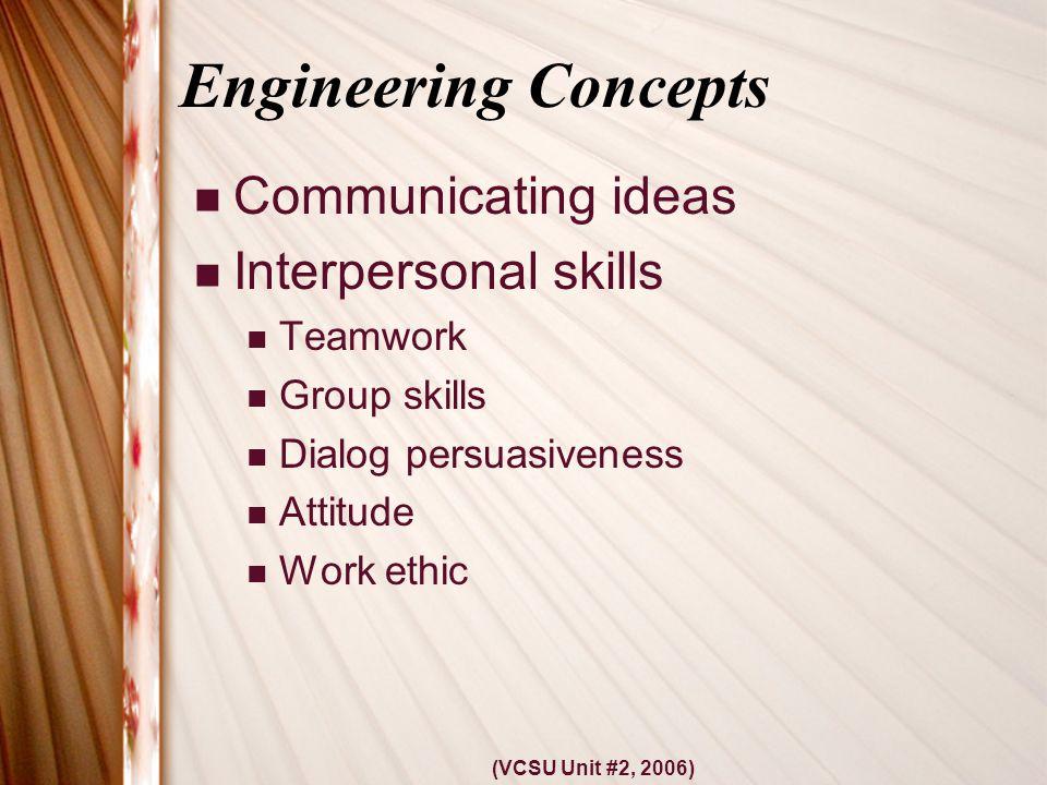 (VCSU Unit #2, 2006) Engineering Concepts Communicating ideas Interpersonal skills Teamwork Group skills Dialog persuasiveness Attitude Work ethic