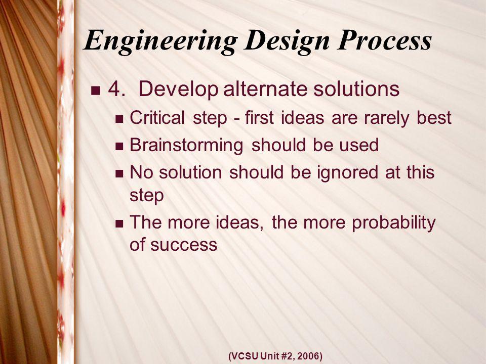 (VCSU Unit #2, 2006) Engineering Design Process 4.