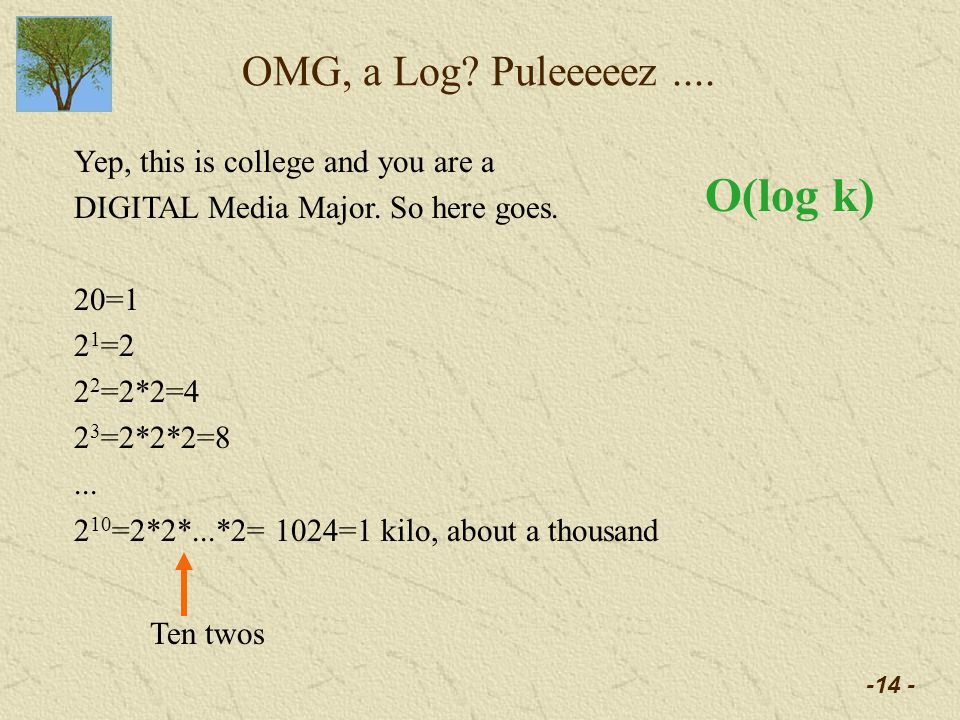 -14 - OMG, a Log. Puleeeeez.... Yep, this is college and you are a DIGITAL Media Major.