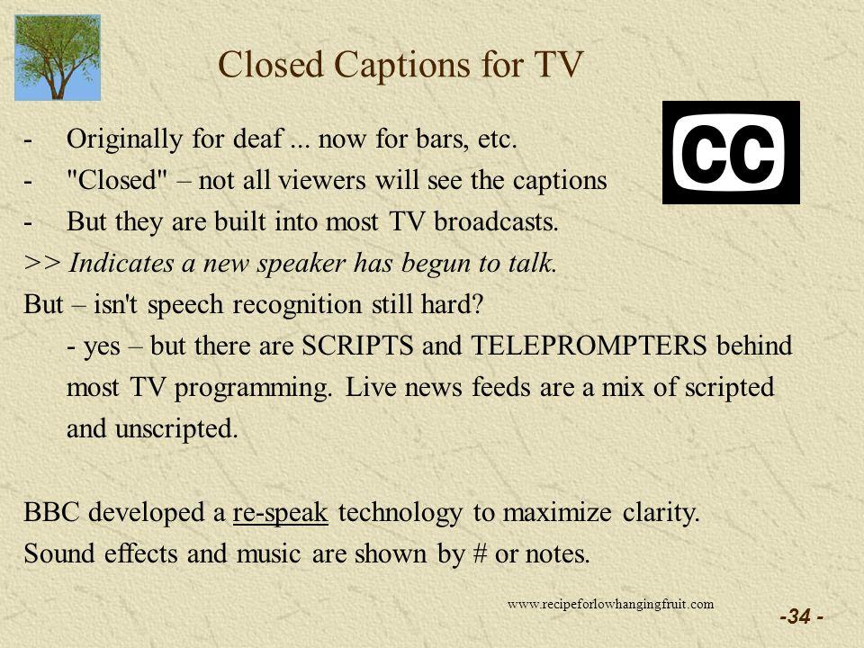 -34 - Closed Captions for TV -Originally for deaf...