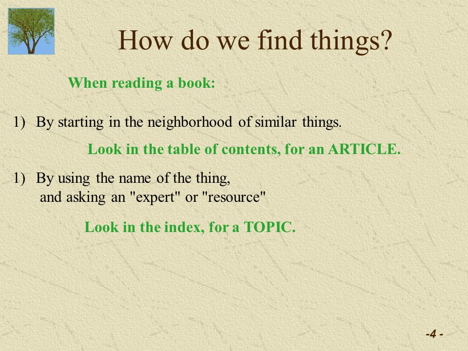 -4 - How do we find things. 1)By starting in the neighborhood of similar things.