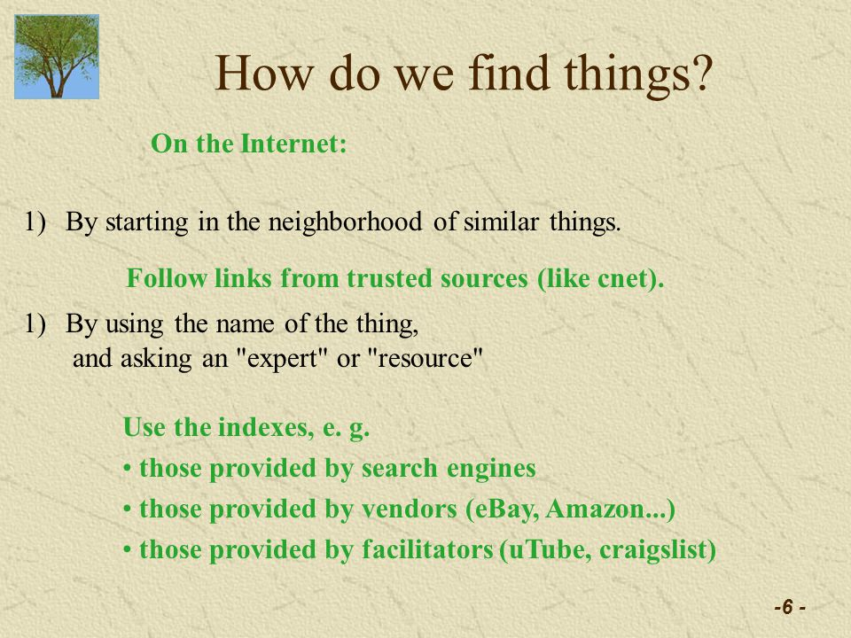 -6 - How do we find things. 1)By starting in the neighborhood of similar things.