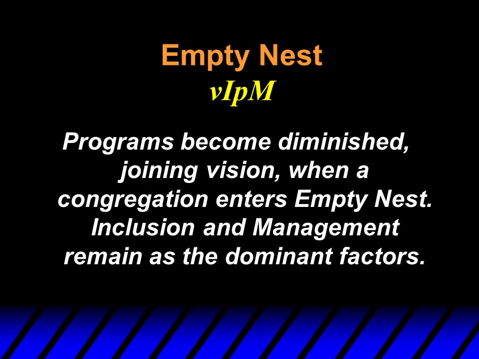 Empty Nest vIpM Programs become diminished, joining vision, when a congregation enters Empty Nest. Inclusion and Management remain as the dominant fac
