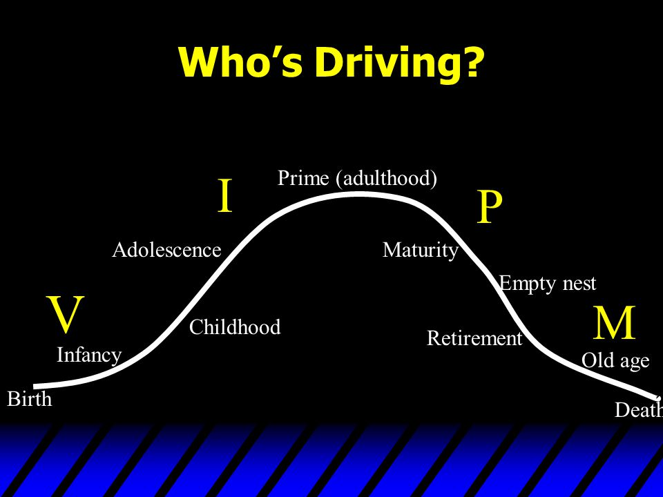 Who's Driving? Birth Infancy Childhood Adolescence Prime (adulthood) Maturity Empty nest Retirement Old age Death V I P M