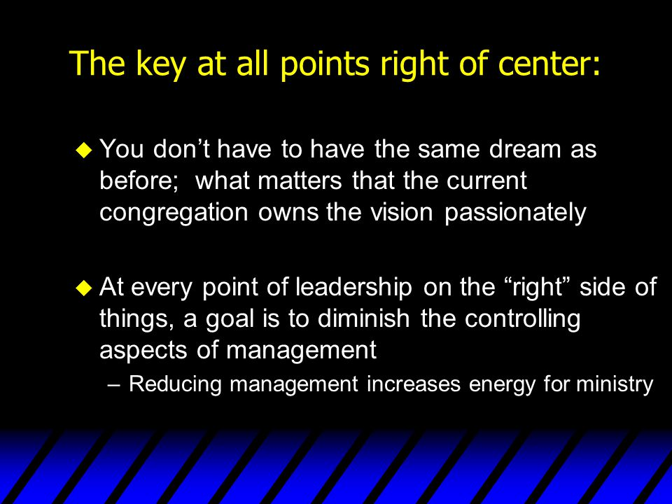 The key at all points right of center: u You don't have to have the same dream as before; what matters that the current congregation owns the vision p