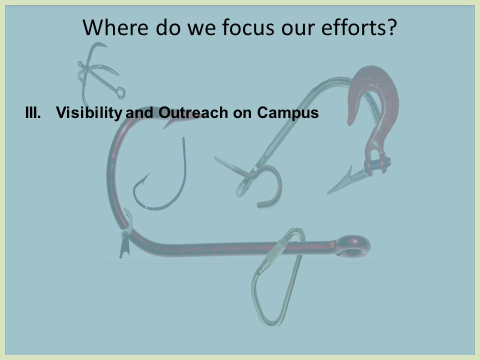 Where do we focus our efforts III. Visibility and Outreach on Campus