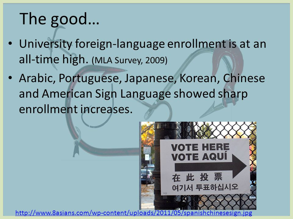 the bad… Language courses as a percentage of college classes: 1965 16.5% 2006, 2009 8.6% Graduate-school foreign language enrollment 2006 -2009 6.7% Colleges & universities w/ foreign language requirement for graduation: 1885: 64% 1966: 89% 1971: 77% 1994: 66% 2009: 50% MLA Survey of 100 institutions: % of college students in lang.