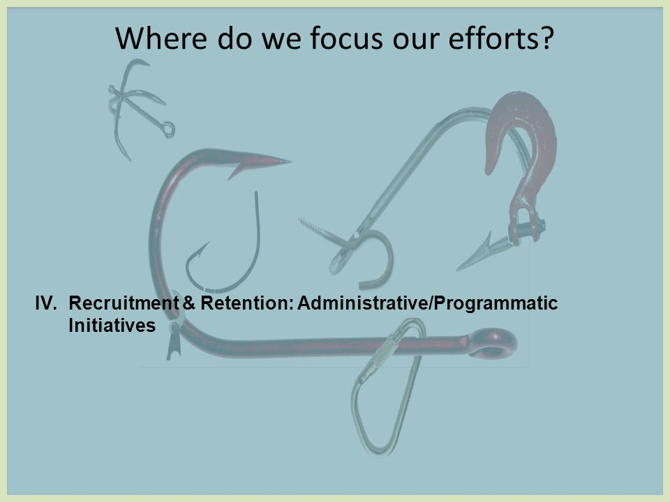 Where do we focus our efforts IV.Recruitment & Retention: Administrative/Programmatic Initiatives