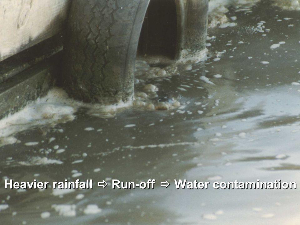 Heavier rainfall  Run-off  Water contamination