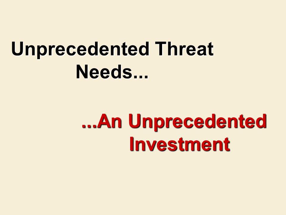 Unprecedented Threat Needs......An Unprecedented Investment