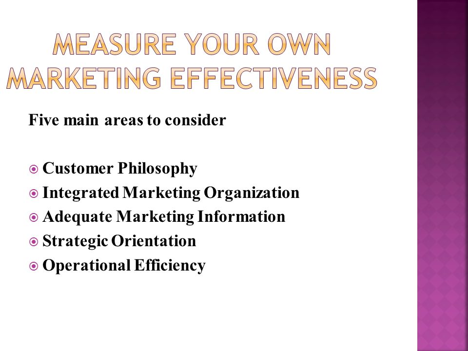 Five main areas to consider  Customer Philosophy  Integrated Marketing Organization  Adequate Marketing Information  Strategic Orientation  Operational Efficiency