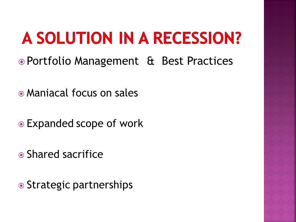  Portfolio Management & Best Practices  Maniacal focus on sales  Expanded scope of work  Shared sacrifice  Strategic partnerships