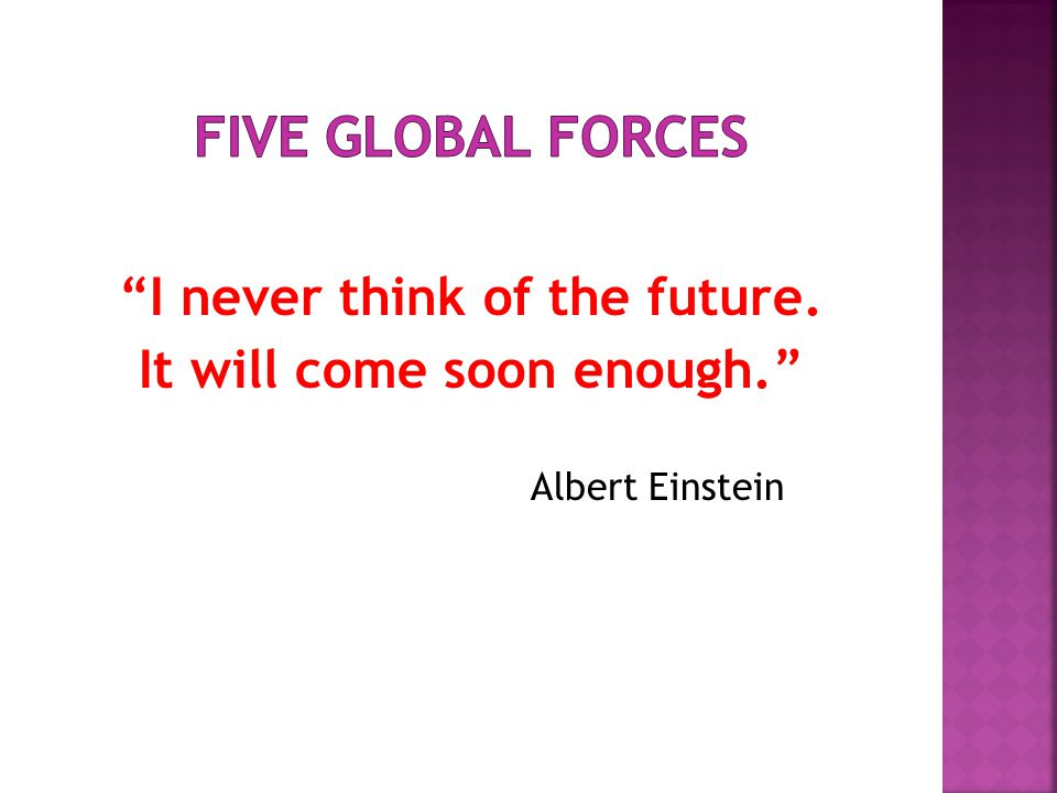 I never think of the future. It will come soon enough. Albert Einstein