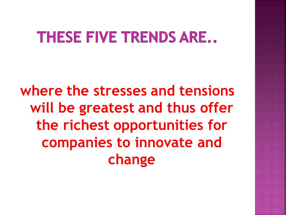 where the stresses and tensions will be greatest and thus offer the richest opportunities for companies to innovate and change