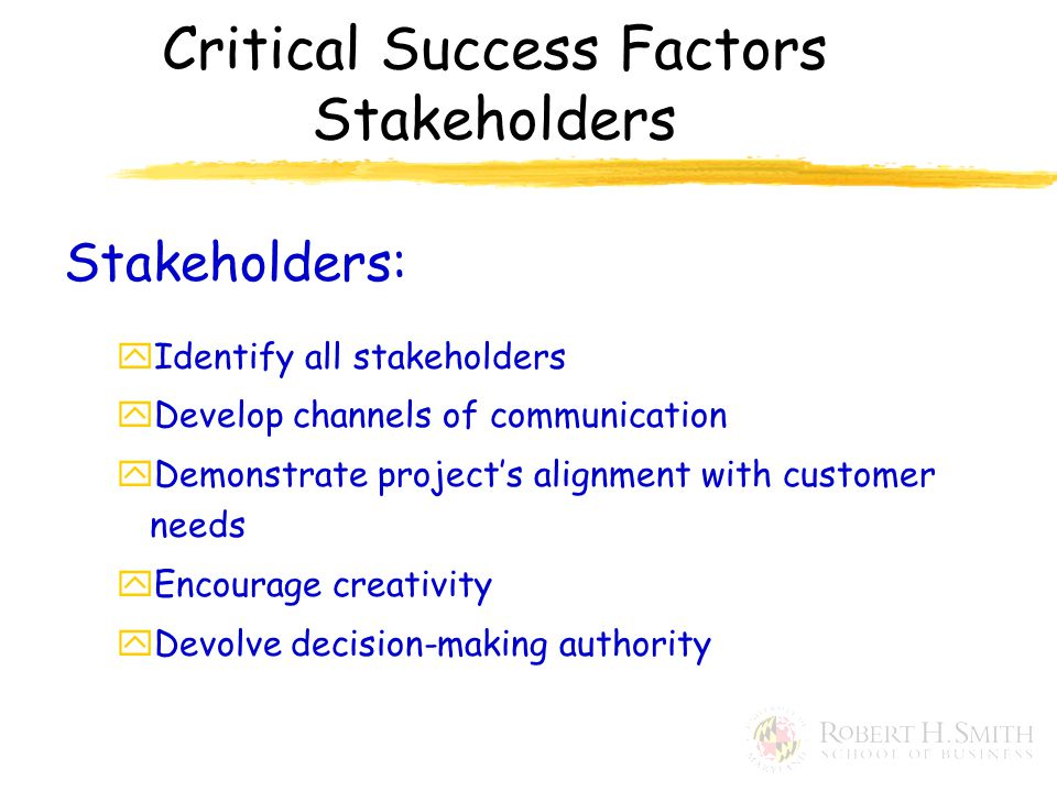 Stakeholders: yIdentify all stakeholders yDevelop channels of communication yDemonstrate project's alignment with customer needs yEncourage creativity yDevolve decision-making authority Critical Success Factors Stakeholders