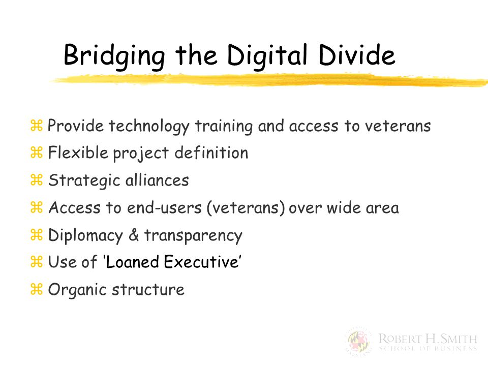 Bridging the Digital Divide zProvide technology training and access to veterans zFlexible project definition zStrategic alliances zAccess to end-users (veterans) over wide area zDiplomacy & transparency zUse of 'Loaned Executive' zOrganic structure