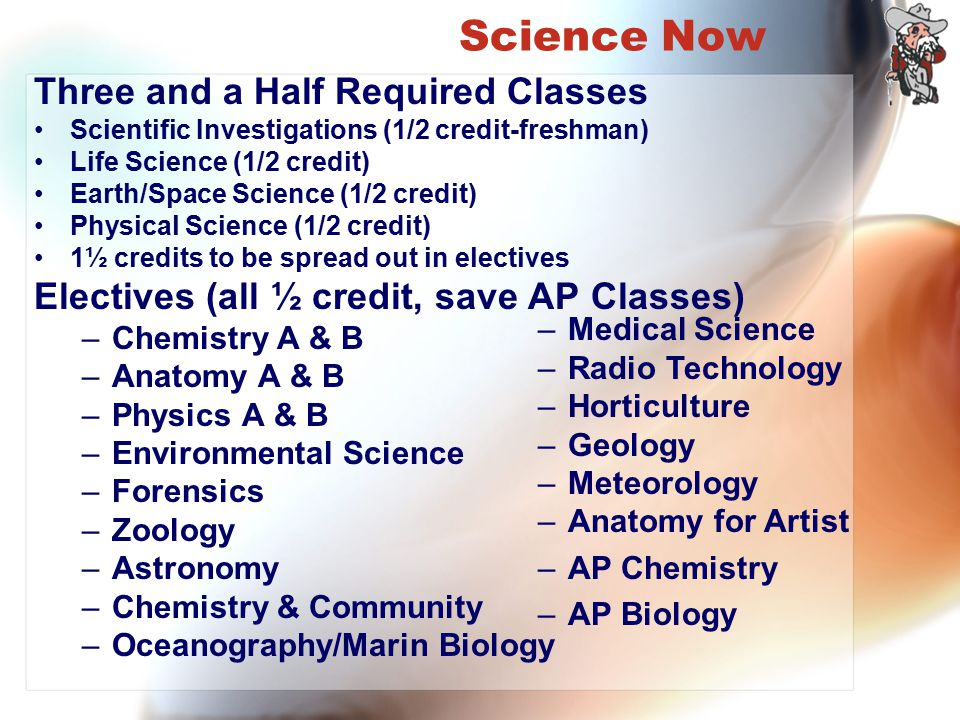 Science Now Three and a Half Required Classes Scientific Investigations (1/2 credit-freshman) Life Science (1/2 credit) Earth/Space Science (1/2 credi