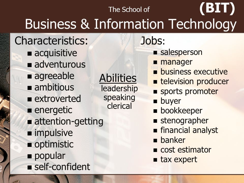 (BIT) Business & Information Technology The School of Characteristics: acquisitive adventurous agreeable ambitious extroverted energetic attention-get