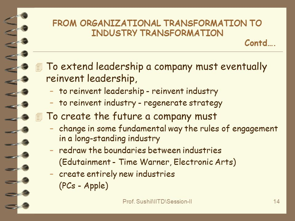 Prof. Sushil\IITD\Session-II14 FROM ORGANIZATIONAL TRANSFORMATION TO INDUSTRY TRANSFORMATION Contd…. 4 To extend leadership a company must eventually