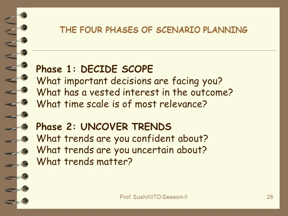 Prof. Sushil\IITD\Session-II26 THE FOUR PHASES OF SCENARIO PLANNING Phase 1: DECIDE SCOPE What important decisions are facing you? What has a vested i