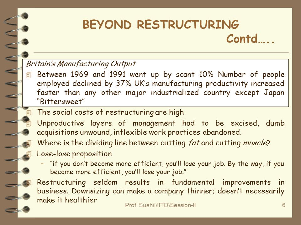 Prof. Sushil\IITD\Session-II6 BEYOND RESTRUCTURING Contd…..