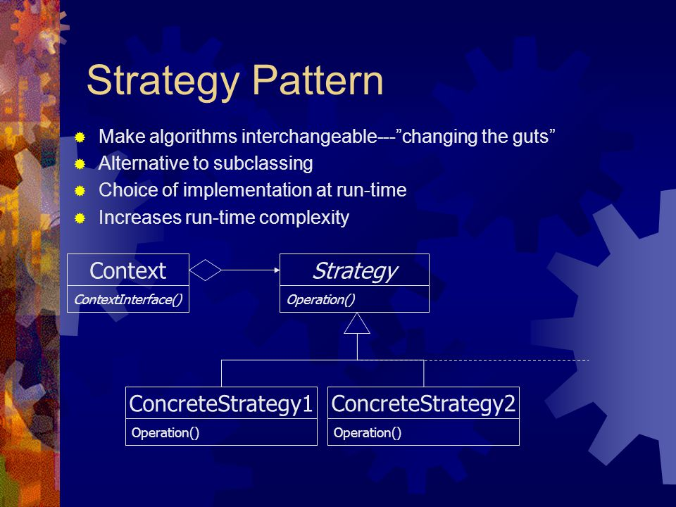 Strategy Pattern Strategy Operation() ConcreteStrategy2 Operation() Context  Make algorithms interchangeable--- changing the guts  Alternative to subclassing  Choice of implementation at run-time  Increases run-time complexity ContextInterface() ConcreteStrategy1 Operation()