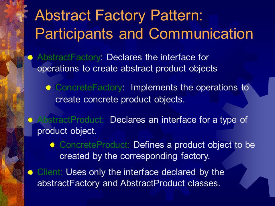 Abstract Factory Pattern: Participants and Communication  ConcreteFactory: Implements the operations to create concrete product objects.  AbstractPr