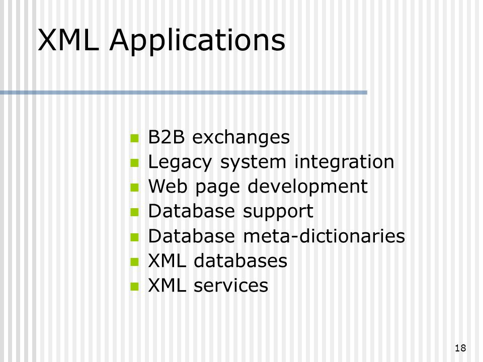 18 B2B exchanges Legacy system integration Web page development Database support Database meta-dictionaries XML databases XML services XML Applications