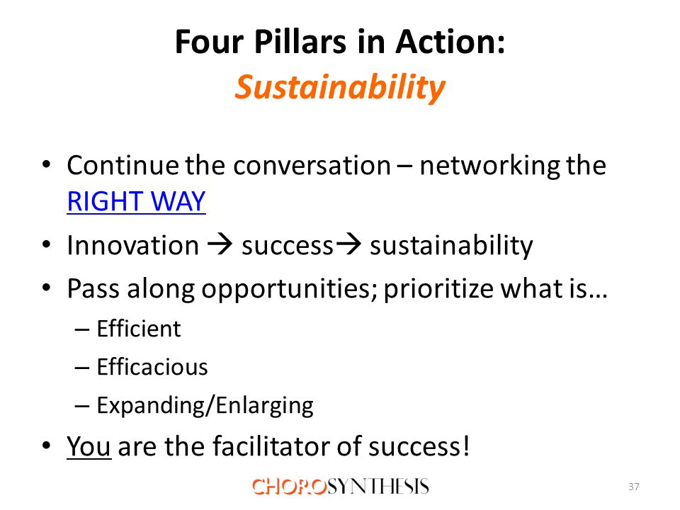 Four Pillars in Action: Sustainability Continue the conversation – networking the RIGHT WAY RIGHT WAY Innovation  success  sustainability Pass along opportunities; prioritize what is… – Efficient – Efficacious – Expanding/Enlarging You are the facilitator of success.