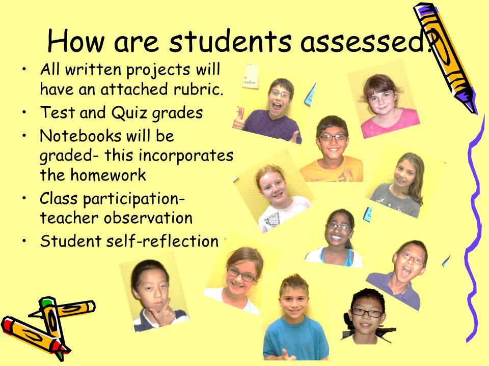 How are students assessed. All written projects will have an attached rubric.