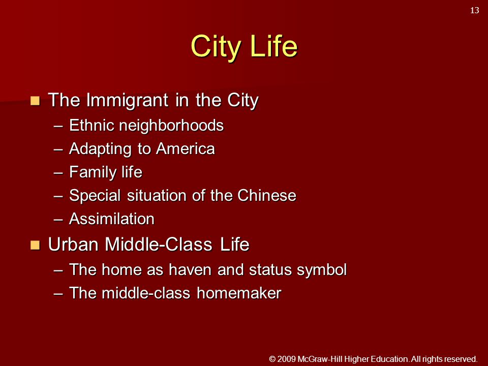 © 2009 McGraw-Hill Higher Education. All rights reserved. City Life The Immigrant in the City The Immigrant in the City –Ethnic neighborhoods –Adaptin