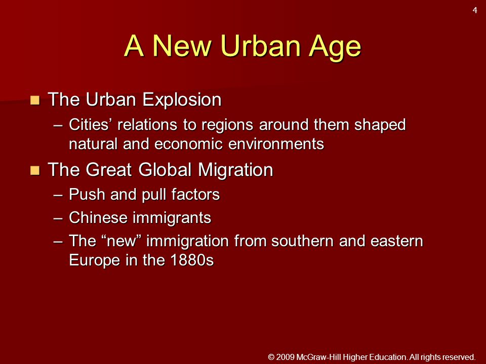 © 2009 McGraw-Hill Higher Education. All rights reserved. A New Urban Age The Urban Explosion The Urban Explosion –Cities' relations to regions around