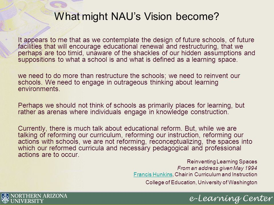 It appears to me that as we contemplate the design of future schools, of future facilities that will encourage educational renewal and restructuring,