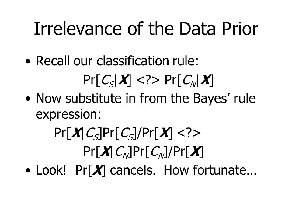Irrelevance of the Data Prior Recall our classification rule: Pr[C S |X] Pr[C N |X] Now substitute in from the Bayes' rule expression: Pr[X|C S ]Pr[C S ]/Pr[X] Pr[X|C N ]Pr[C N ]/Pr[X] Look.