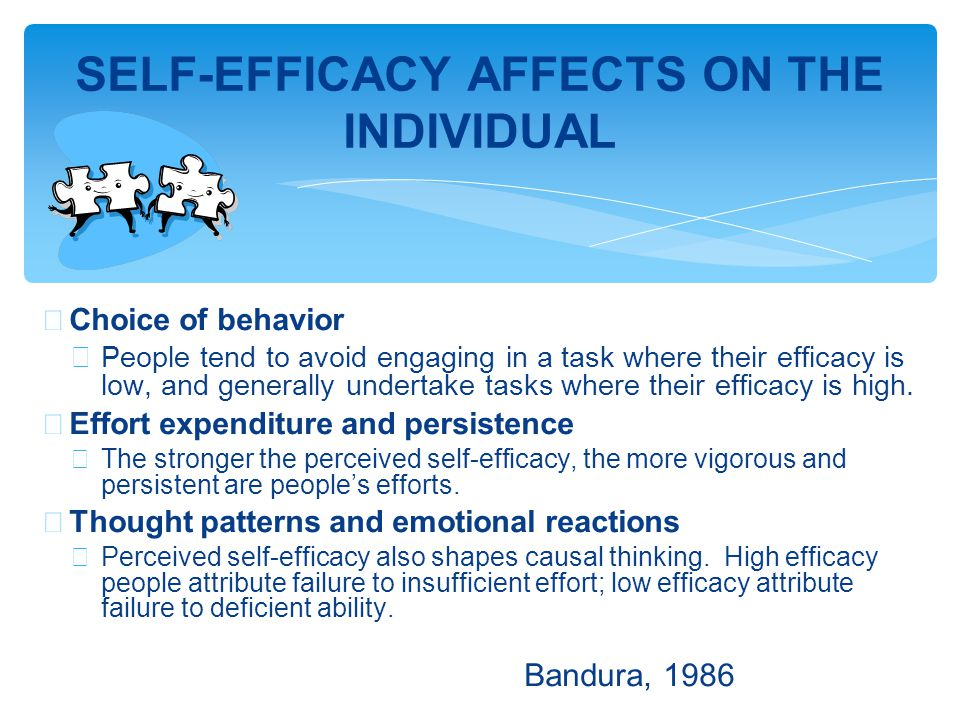 ∗ Choice of behavior ∗ People tend to avoid engaging in a task where their efficacy is low, and generally undertake tasks where their efficacy is high