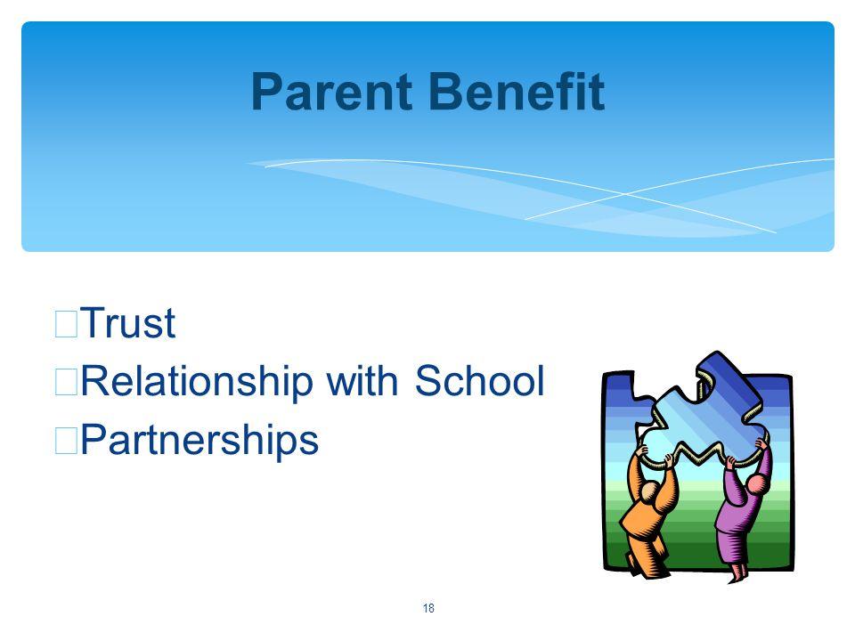 18 Parent Benefit ∗ Trust ∗ Relationship with School ∗ Partnerships