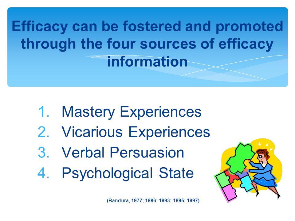1. Mastery Experiences 2. Vicarious Experiences 3.