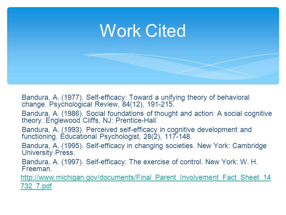 ∗ Bandura, A. (1977). Self-efficacy: Toward a unifying theory of behavioral change.