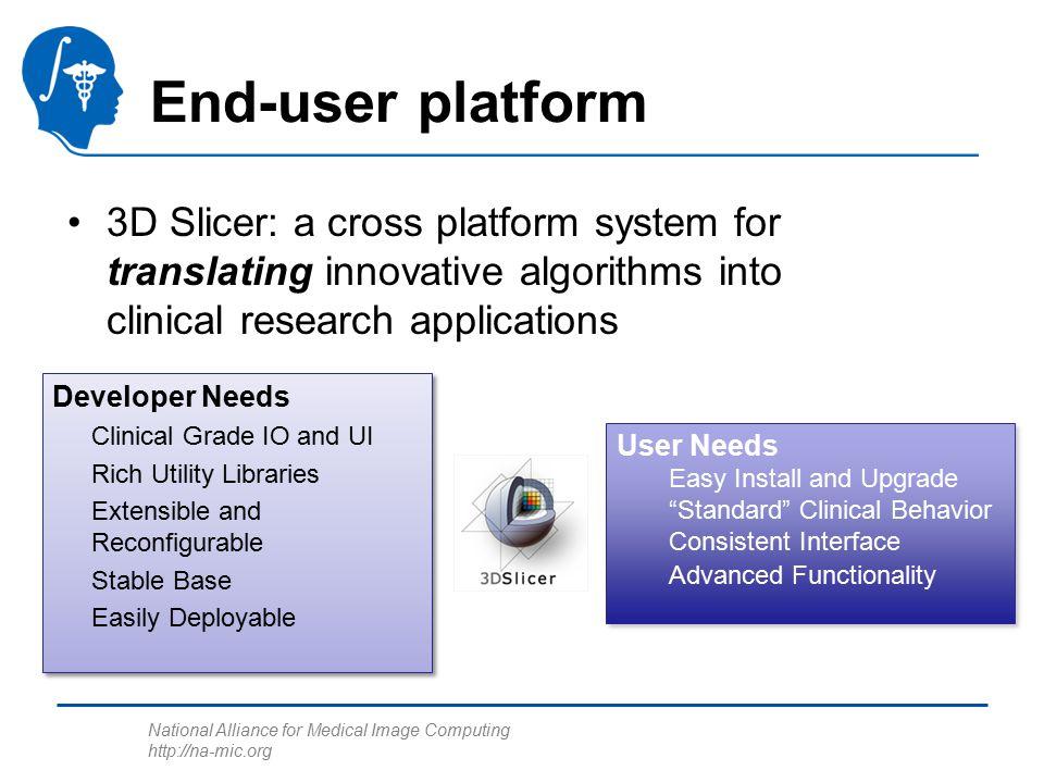 National Alliance for Medical Image Computing http://na-mic.org End-user platform 3D Slicer: a cross platform system for translating innovative algori