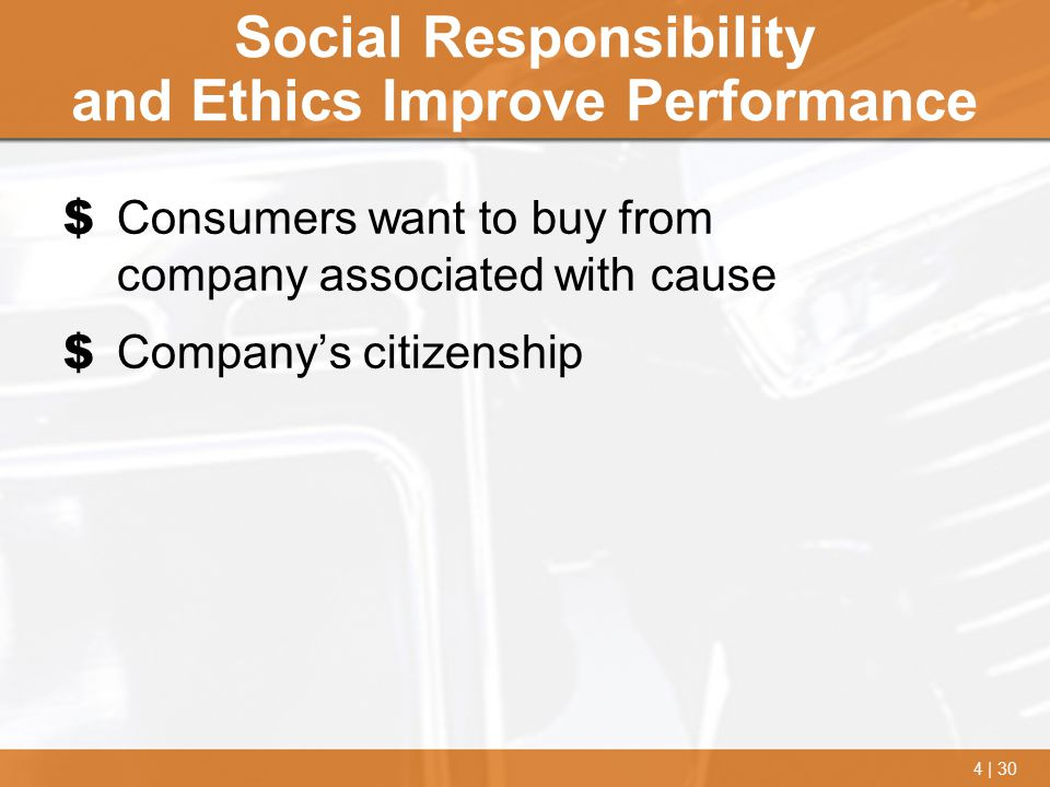 4 | 30 Social Responsibility and Ethics Improve Performance $ Consumers want to buy from company associated with cause $ Company's citizenship