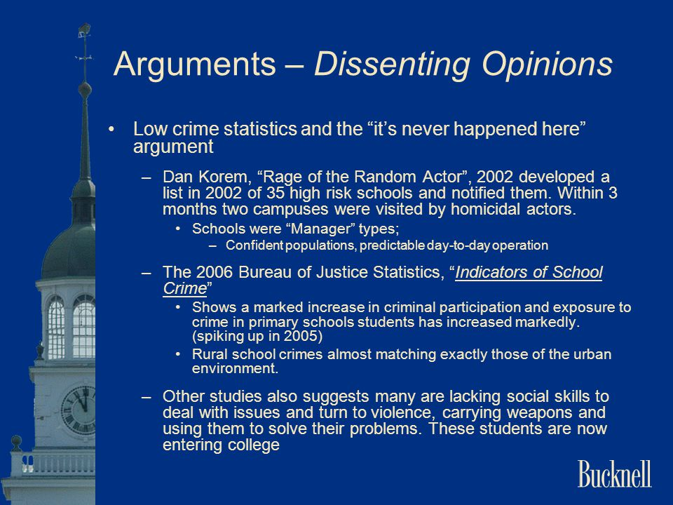 """Arguments – Dissenting Opinions Low crime statistics and the """"it's never happened here"""" argument –Dan Korem, """"Rage of the Random Actor"""", 2002 develope"""