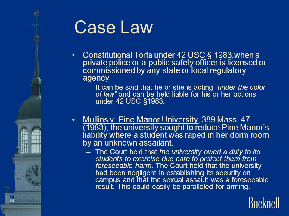 Case Law Constitutional Torts under 42 USC § 1983,when a private police or a public safety officer is licensed or commissioned by any state or local r