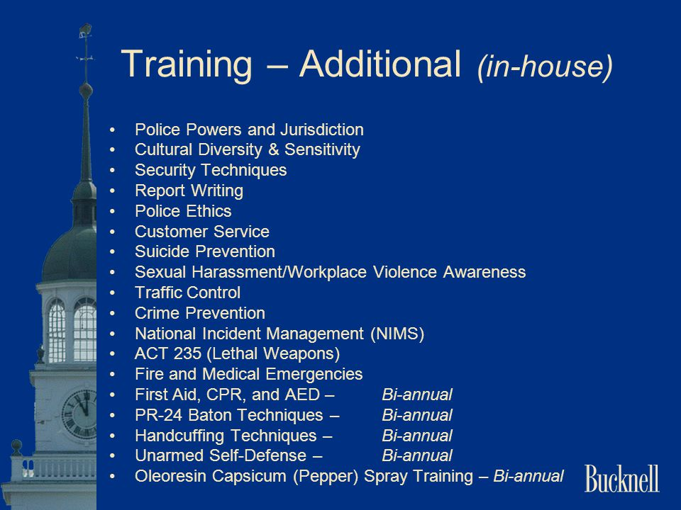 Training – Additional (in-house) Police Powers and Jurisdiction Cultural Diversity & Sensitivity Security Techniques Report Writing Police Ethics Cust