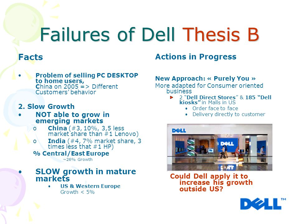 Failures of Dell Thesis B Facts Problem of selling PC DESKTOP to home users, China on 2005 => Different Customers' behavior 2. Slow Growth NOT able to