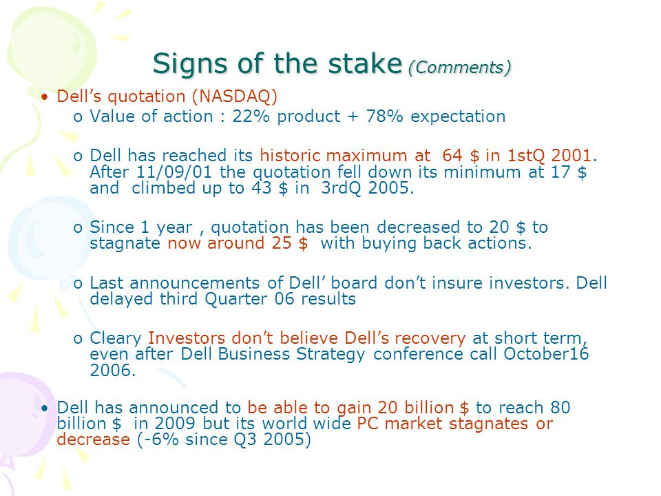 Signs of the stake (Comments) Dell's quotation (NASDAQ) oValue of action : 22% product + 78% expectation oDell has reached its historic maximum at 64