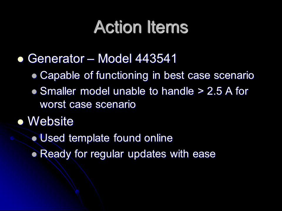 Action Items Generator – Model 443541 Generator – Model 443541 Capable of functioning in best case scenario Capable of functioning in best case scenar